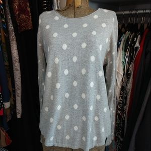 J. Jill Polka Dot Crew Neck Pullover 100% Cotton
